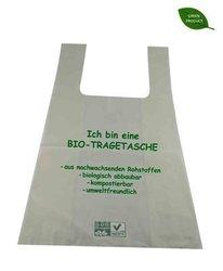 Bio Tragetasche aus Maisstärke, geblockt, 28+15x50 cm , 500 Stk
