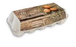 Eierverpackung 10er, Bodenhaltung, weiß