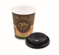 Pappbecher 'Coffee to go' M + Domdeckel schwarz
