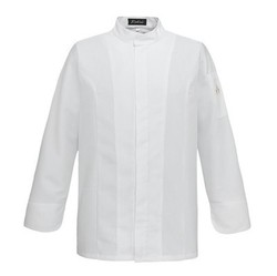 Kochjacke Dino Ton sur Ton White Slimfit Zip L